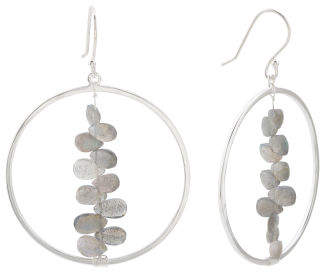 Made In India Sterling Silver Labradorite Circle Earrings