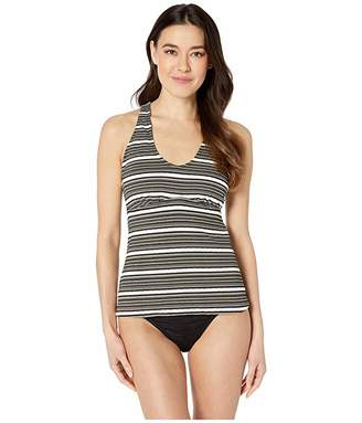 9168f022f0 24th & Ocean Luxe Gold Stripe Over the Shoulder Back Strapping Tankini Top