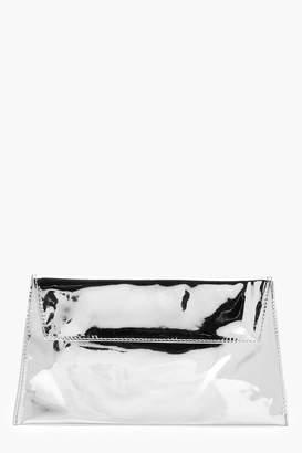 boohoo Angelina Mirrored Envelope Clutch Bag