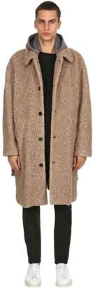 MSGM Wool Blend Coat W/ Houndstooth Hood