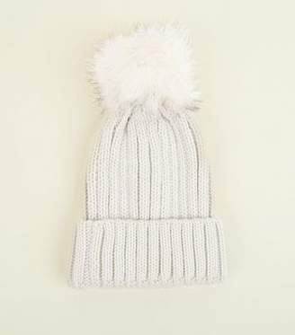b1b7ba04174 New Look Cream Ribbed Pom Pom Trim Beanie Hat