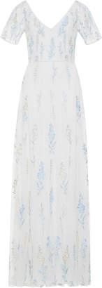 Luisa Beccaria Embroidered V-Neck Dress