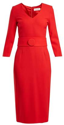 Goat Fox V Neck Wool Crepe Pencil Dress - Womens - Red