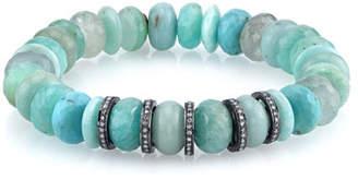 Sheryl Lowe 10mm Amazonite Beaded Bracelet with Diamonds