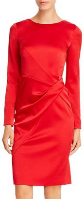 Paule Ka Draped Twist-Detail Satin Dress