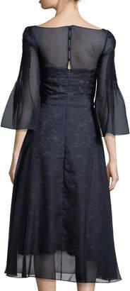 Carolina Herrera Bell-Sleeve Organza Overlay Lace Midi Cocktail Dress