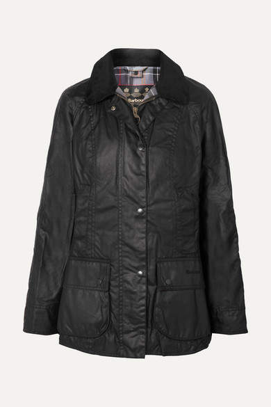 Beadnell Corduroy-trimmed Waxed-cotton Jacket - Black