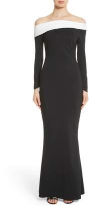 Chiara Boni Tae Bicolor Off the Shoulder Gown