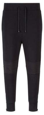 HUGO Boss Relaxed-fit cotton-blend pants ribbed knees M Black