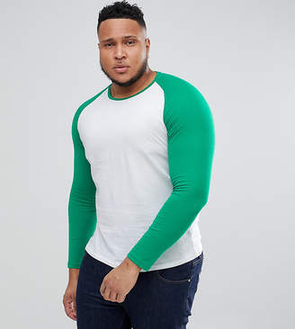 ONLY & SONS PLUS Contrast Raglan Long Sleeve Tee
