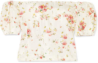 Brock Collection Boie Off-the-shoulder Floral-print Silk Blouse - Cream