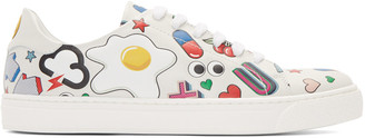 Anya Hindmarch White All Over Wink Stickers Tennis Sneakers $695 thestylecure.com