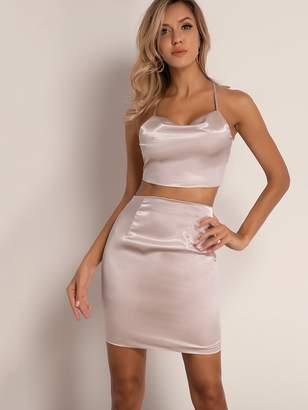 Shein Joyfunear Tie Back Halter Satin Top & Zip Back Skirt Set