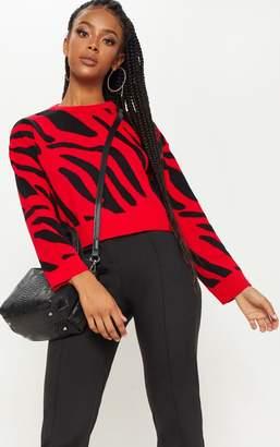 PrettyLittleThing Red Zebra Cropped Jumper