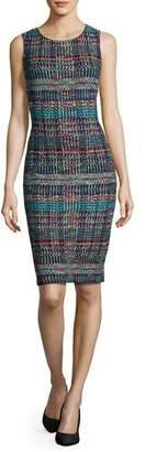 St. John Dara Knit Jewel-Neck Sheath Dress