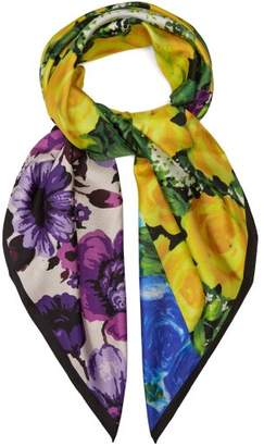 Richard Quinn - Floral Print Silk Twill Scarf - Womens - Multi