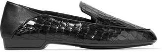 Fanin Glossed Croc-effect Leather Loafers - Black