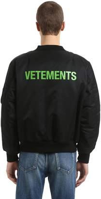 Vetements Reversible Cropped Nylon Bomber Jacket