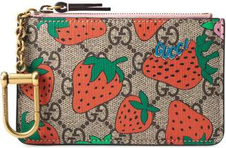 Gucci GG key case with Strawberry print