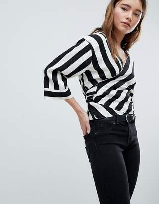 Bershka Stripe Wrap Blouse