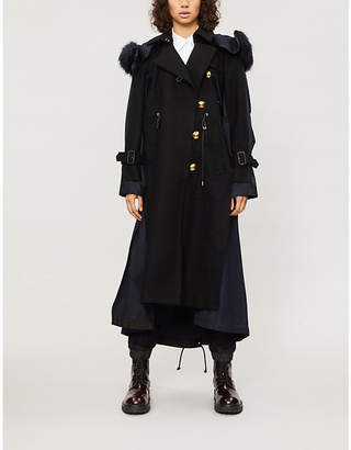 Sacai Hooded wool and cotton coat