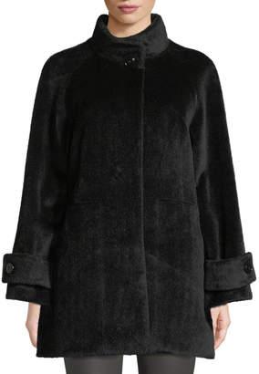 Cinzia Rocca Stand-Collar Button-Front Baby Llama Wool Jacket