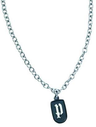 Police Sentintel Gents' stainless steel necklace with P logo in white enamel pendant