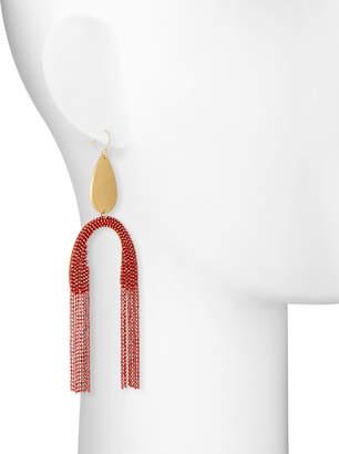 Serefina Upside Down Fringe Earrings, Red