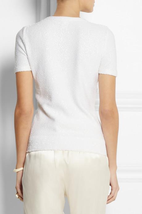 Oscar de la Renta Embellished sequined woven top