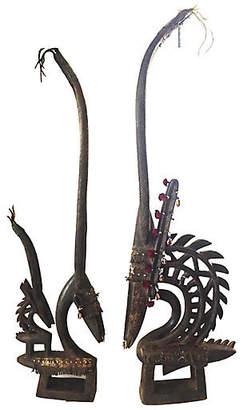 One Kings Lane Vintage Chi Wara Antelope Masks - Set of 2