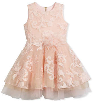 Zoe Embellished Tulle Swing Dress, Pink, Size 7-16