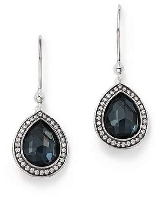 Ippolita Stella Teardrop Earrings in Hematite Doublet with Diamonds in Sterling Silver