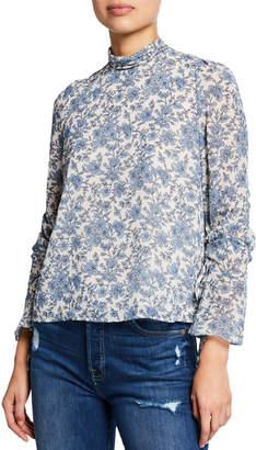 Astr Cinched-Sleeve Mock-Neck Floral Print Blouse