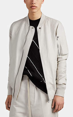 Rick Owens Men's Cotton-Silk Plissé Bomber Jacket - White