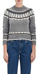 The RERACS Women's Abstract-Pattern Mohair-Blend Sweater-Gray