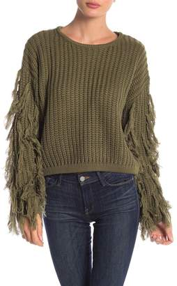 Pink Owl Shaggy Arms Tassel Sweater