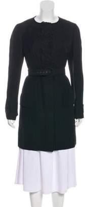 Andrew Gn Floral-Accented Linen-Blend Jacket Black Floral-Accented Linen-Blend Jacket