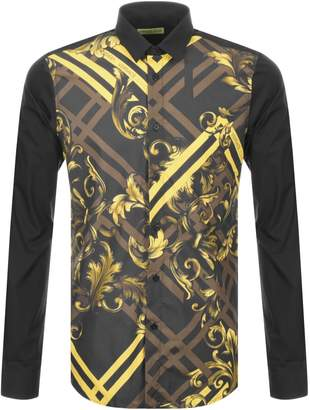 Versace Long Sleeved Printed Shirt Black