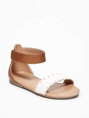 Old Navy Color-Blocked Scalloped-Strap Sandals for Toddler Girls