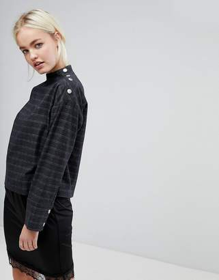 J.o.a. Long Sleeve Top With Popper Neck Opening In Grid Check