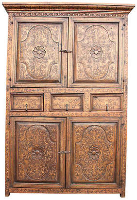 ... One Kings Lane Vintage Spanish Colonial Marquetry Armoire   De Cor
