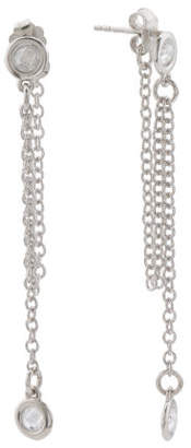Made In Italy Sterling Silver Cz Chain Loop Earrings