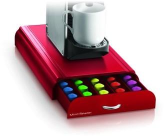 Nespresso Mind Reader 50 Capacity Capsule, 24 Capacity Vertuoline Coffee Pod Storage Drawer Organizer, Red