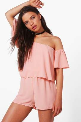 boohoo Off shoulder Ruffle Sleeve Playsuit