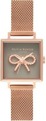 Olivia Burton Vintage Bow Square Mesh Strap Watch, 23mm