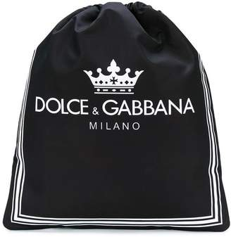 Dolce & Gabbana logo print drawstring backpack