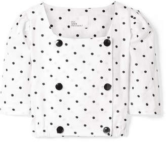 Lisa Marie Fernandez Diana Double-breasted Embroidered Polka-dot Linen Top - White