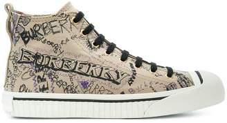 Burberry doodle print high-top sneakers