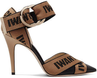 Jimmy Choo Bea 100 Logo-woven Canvas And Leather Pumps - Black
