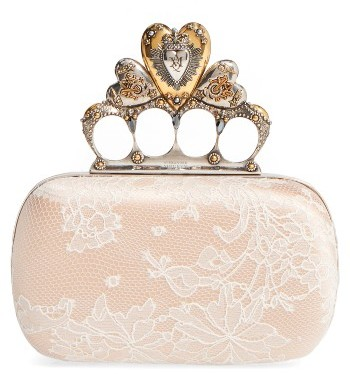 Alexander McQueen Alexander Mcqueen Lace Knuckle Clasp Box Clutch - White